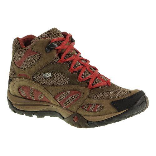 Womens Merrell Azura Mid Waterproof Hiking Shoe - Dark Earth/Red 7.5