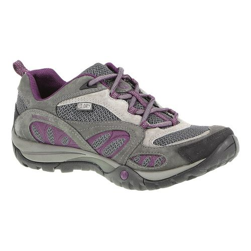 Womens Merrell Azura Waterproof Hiking Shoe - Castlerock/Purple 9.5