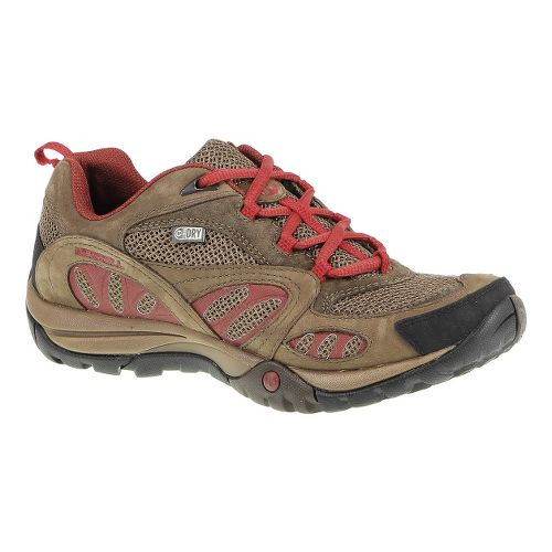 Womens Merrell Azura Waterproof Hiking Shoe - Dark Earth/Red 10.5