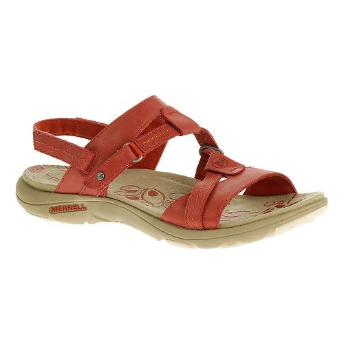 Womens Merrell Swivel Leather Sandals Shoe - Wild Poppy 5
