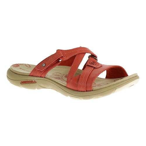 Womens Merrell Sway Leather Sandals Shoe - Wild Poppy 5