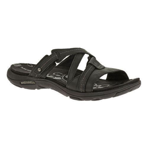 Womens Merrell Sway Leather Sandals Shoe - Black 8