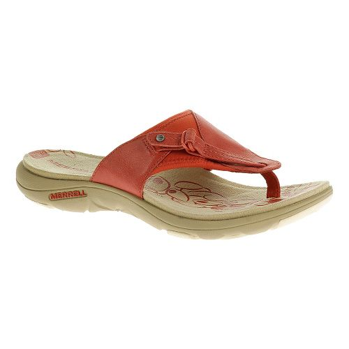 Womens Merrell Grace Leather Flip Sandals Shoe - Wild Poppy 5
