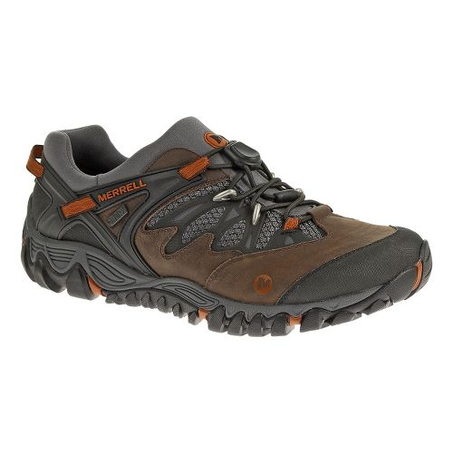 Mens Merrell AllOut Blaze Stretch Waterproof Hiking Shoe - Brown 7.5