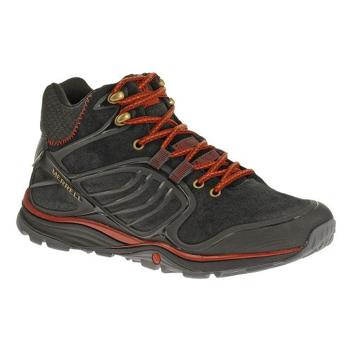 Mens Merrell Verterra MID Waterproof Hiking Shoe - Black/Red 11.5