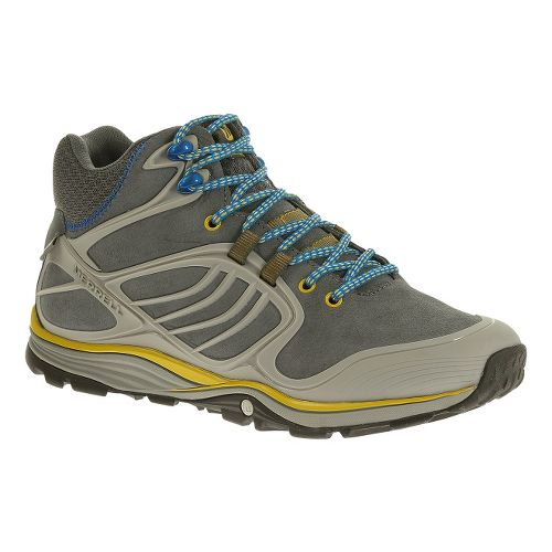 Mens Merrell Verterra MID Waterproof Hiking Shoe - Castlerock/Yellow 7.5