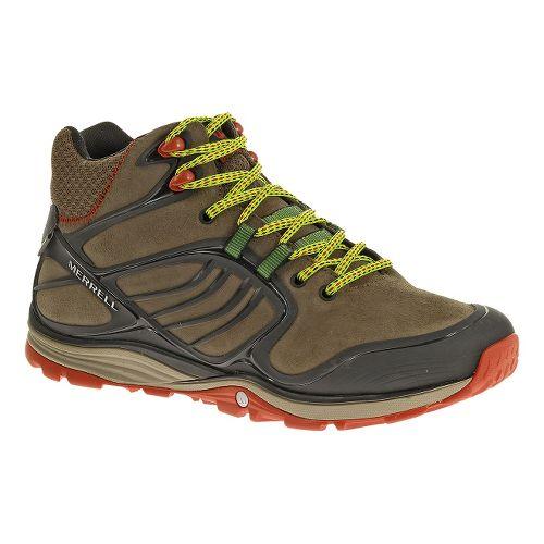 Mens Merrell Verterra MID Waterproof Hiking Shoe - Merrell Stone/Lime 7.5