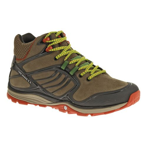 Mens Merrell Verterra MID Waterproof Hiking Shoe - Merrell Stone/Lime 9.5