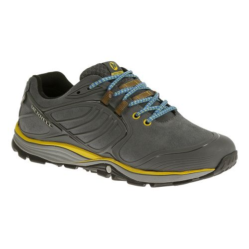 Mens Merrell Verterra Waterproof Hiking Shoe - Castlerock/Yellow 11.5