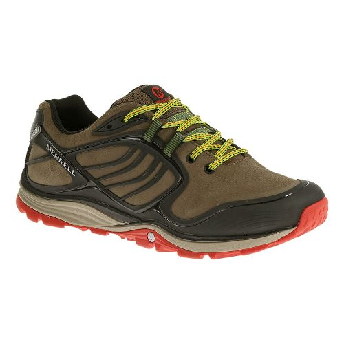 Mens Merrell Verterra Waterproof Hiking Shoe - Merrell Stone/Lime 8.5