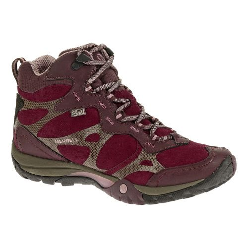 Womens Merrell Azura Carex Mid Waterproof Hiking Shoe - Wine 7.5