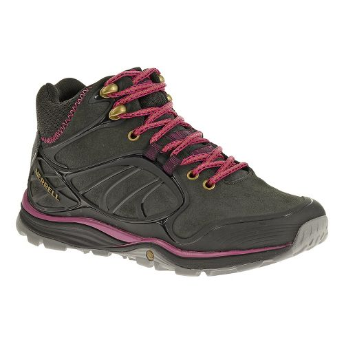 Womens Merrell Verterra Mid Waterproof Hiking Shoe - Black/Rose 7.5