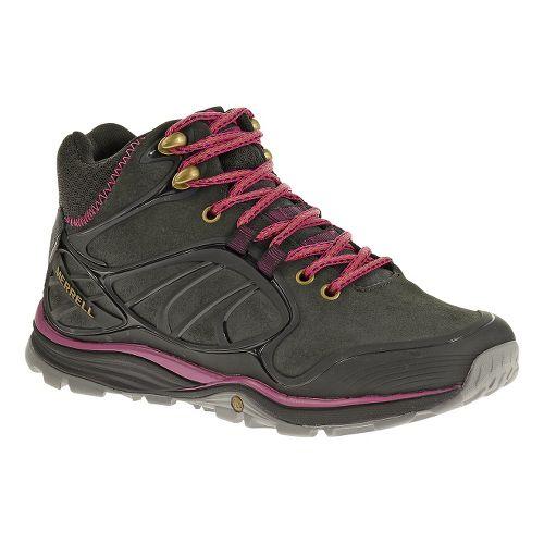 Womens Merrell Verterra Mid Waterproof Hiking Shoe - Black/Rose 9.5