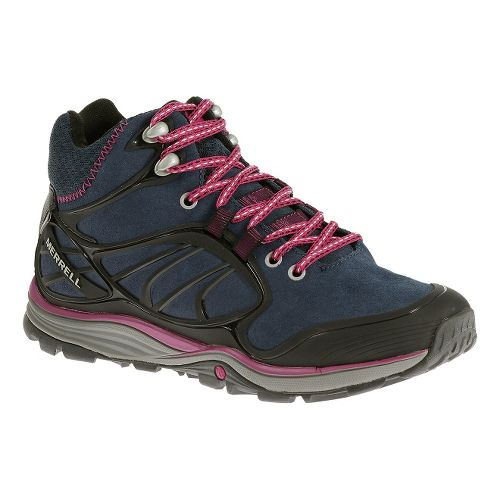 Womens Merrell Verterra Mid Waterproof Hiking Shoe - Blue Moon/Rose 5.5