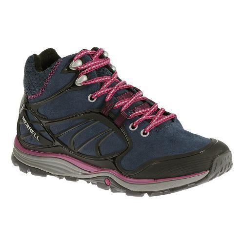 Womens Merrell Verterra Mid Waterproof Hiking Shoe - Blue Moon/Rose 5.5