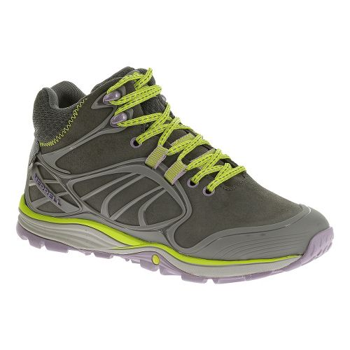 Womens Merrell Verterra Mid Waterproof Hiking Shoe - Granite/Lime 10.5