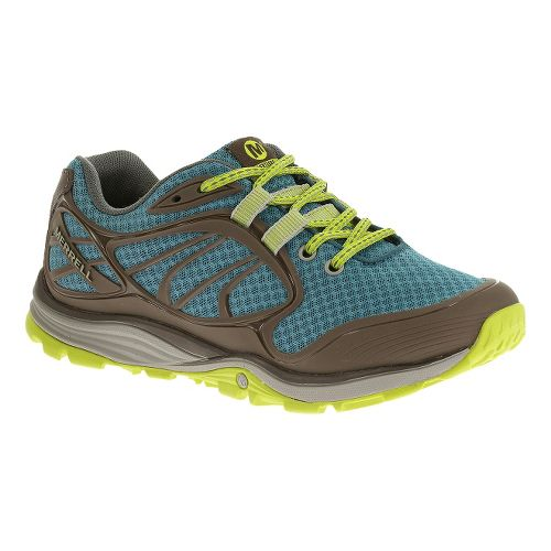 Womens Merrell Verterra Sport Hiking Shoe - Blue/Lime 7.5