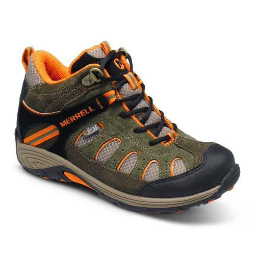 Kids Merrell Boys Chameleon Mid Lace Waterproof Hiking Shoe - Olive/Orange 3.5