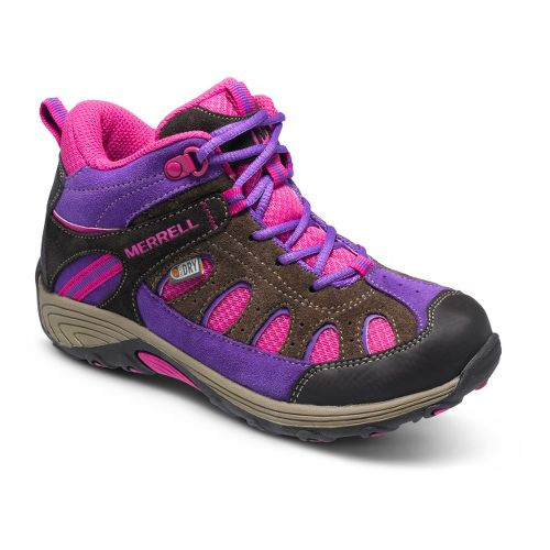 Kids Merrell Girls Chameleon Mid Lace Waterproof Hiking Shoe - Brown/Pink 13.5