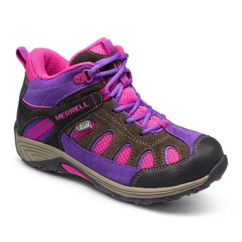 Kids Merrell Girls Chameleon Mid Lace Waterproof Hiking Shoe - Brown/Pink 3.5