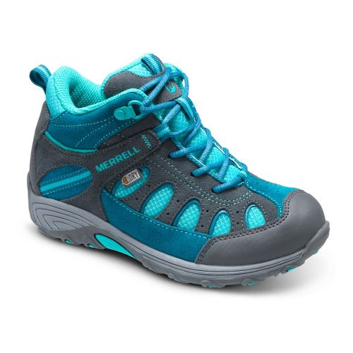 Kids Merrell Girls Chameleon Mid Lace Waterproof Hiking Shoe - Grey/Turquoise 6