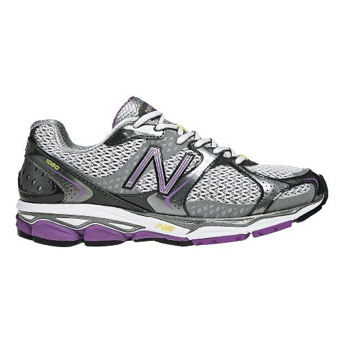 Womens New Balance 1080v2 Running Shoe - Grey/Purple 10.5