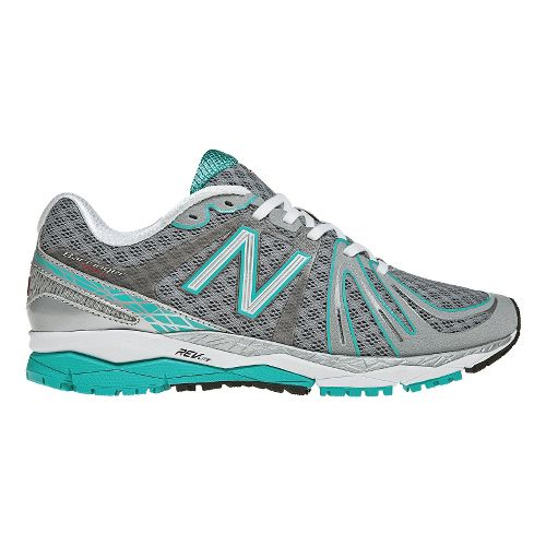 Womens New Balance 890v2 Running Shoe - Silver/Teal 8.5