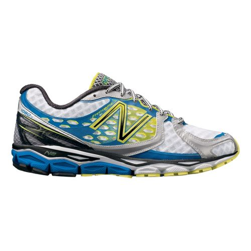 Mens New Balance 1080v3 Running Shoe - White/Blue 11.5