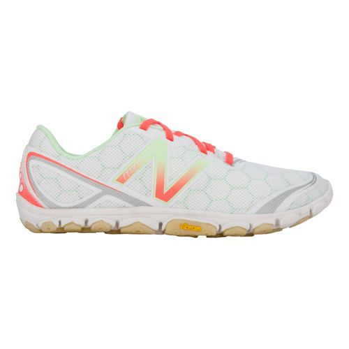 Womens New Balance Minimus 10v2 Running Shoe - White/Pink 7.5