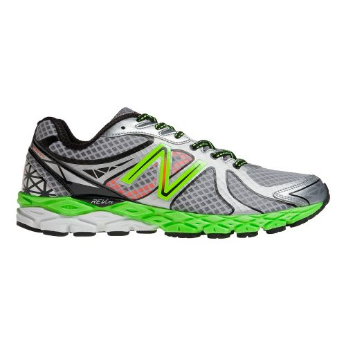 Mens New Balance 870v3 Running Shoe - Silver/Green 10
