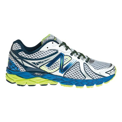 Mens New Balance 870v3 Running Shoe - White/Blue 7.5