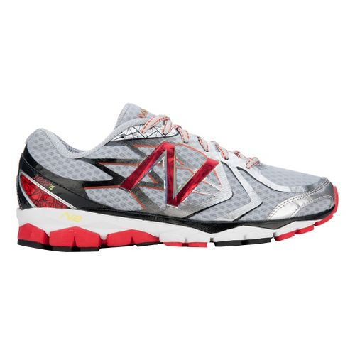 Mens New Balance 1080v4 Running Shoe - Silver/Red 12