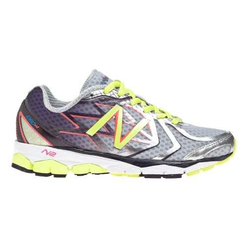 Womens New Balance 1080v4 Running Shoe - Silver/Purple 5