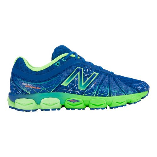Mens New Balance 890v4 Running Shoe - Blue/Green 12.5