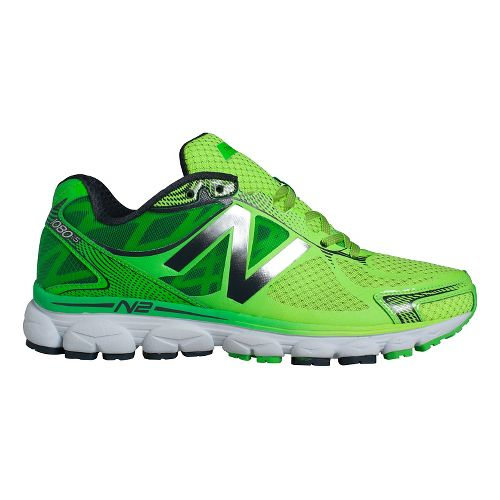 Mens New Balance 1080v5 Running Shoe - Green/Black 10.5