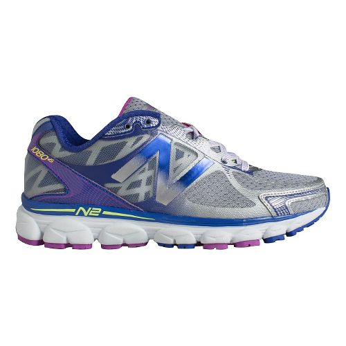 Womens New Balance 1080v5 Running Shoe - Silver/Purple 5