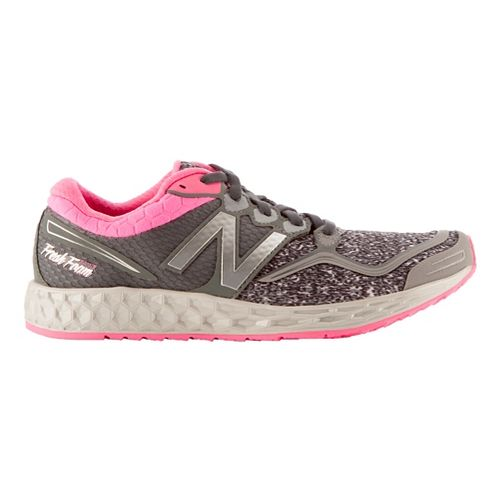 Womens New Balance Fresh Foam Zante Running Shoe - Heather Grey/Pink 9