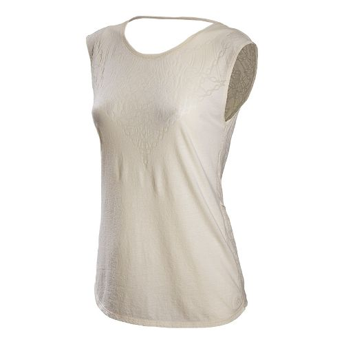 Womens New Balance Anue Burnout Tee Short Sleeve Technical Tops - Pearl L