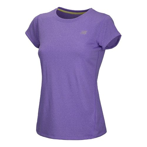 Womens New Balance Heathered Short Sleeve Technical Tops - Amethyst L