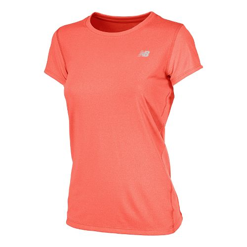 Womens New Balance Heathered Short Sleeve Technical Tops - Dragonfly L