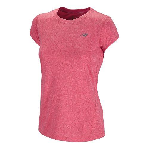 Womens New Balance Heathered Short Sleeve Technical Tops - Diva Pink S