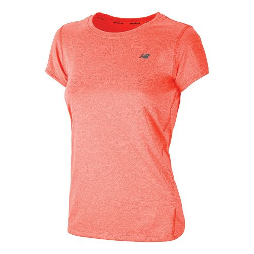 Womens New Balance Heathered Short Sleeve Technical Tops - Fiery Coral M