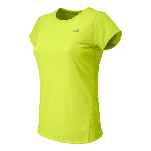 Womens New Balance Heathered Short Sleeve Technical Tops - Hi-Lite M