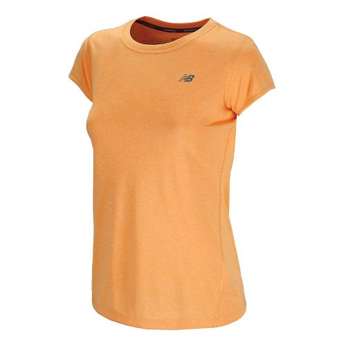 Womens New Balance Heathered Short Sleeve Technical Tops - Orange Pop XS