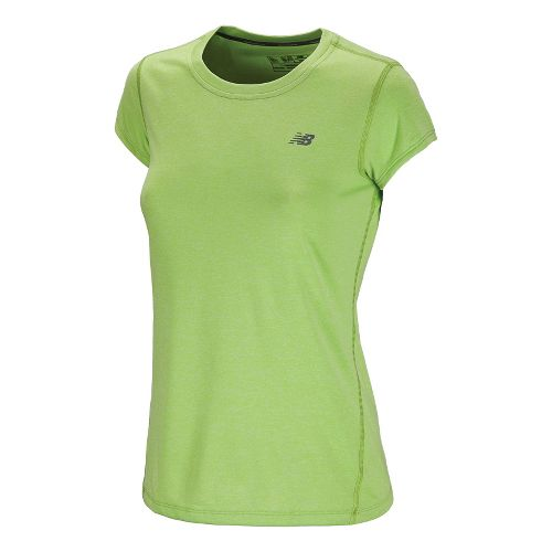Womens New Balance Heathered Short Sleeve Technical Tops - Paradise Green M
