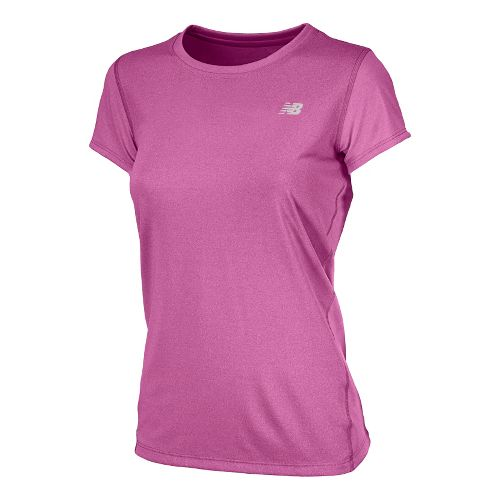 Womens New Balance Heathered Short Sleeve Technical Tops - Poisonberry XL