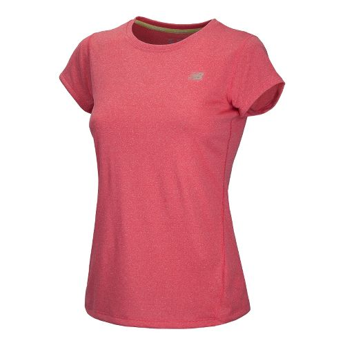 Womens New Balance Heathered Short Sleeve Technical Tops - Ruby XS