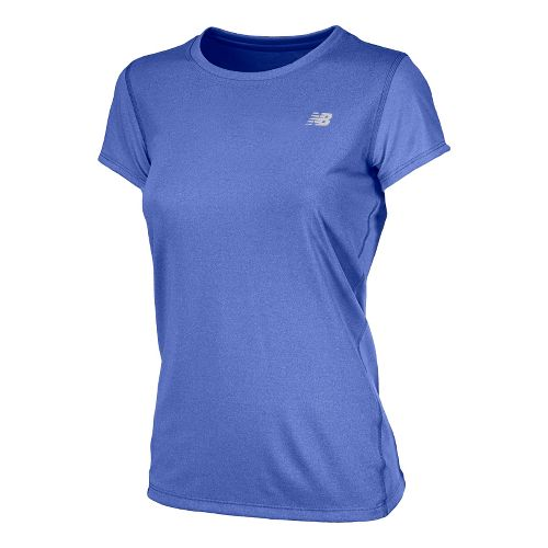 Womens New Balance Heathered Short Sleeve Technical Tops - UV Blue M