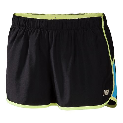 Womens New Balance Momentum Lined Shorts - Black/Blue Infinity XL