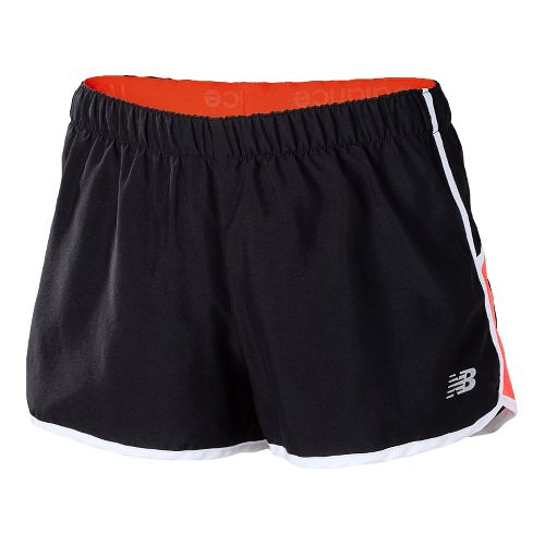 Womens New Balance Momentum Lined Shorts - Black/Fiery Coral XXL